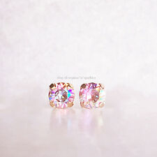 *RARE* $110 14K ROSE GOLD BHLDN PINK UNICORN CRYSTAL STUD EARRINGS ANTHROPOLOGIE