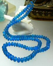 NATURAL UNTREATED TRANSLUCENT NEON BLUE APATITE RONDELLE BEADs STRAND 4-6.5mm