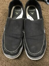CROCS Mens Beach Line Canvas Slip On Navy Blue/gray Boat Shoes Size 10