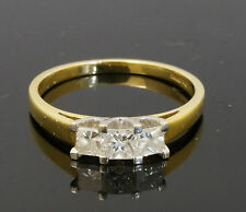 18Carat Yellow Gold Three Stone Princess Cu Diamond 0.50ct Ring (Size P)