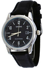 Casio Men's Analog Solar Power Stainless Steel Black Leather Watch MTPVS01L-1B2