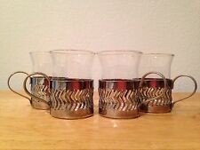 Silver Basket Filigree Demitasse Cup Holders and Glass Liners No Marks