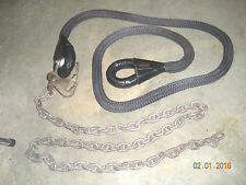 """Military Tow Rope and Chain - 20 Ft - 1"""" Nylon rope & 9/32"""" Grade 80 chain"""