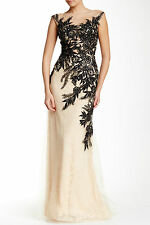 NEW MAC DUGGAL Sheer Illusion Nude Black Embellish Gown - US 2 AU 6 8 - 51016C