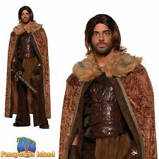 GAME OF THRONES FAUX FUR CAPE BARBARIAN WARRIOR mens fancy dress costume