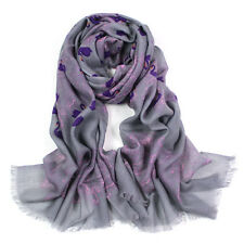100% Pure Wool Woman's Pashmina Scarf Soft Wrap Grey With Purple Swans Print