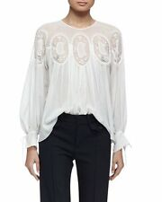 Chloe Long-Sleeve Medallion-Inset Blouse Original:$1,995.00  Size - 40 FR/8US