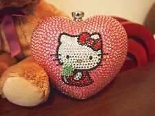 Bling Heart-shaped Hello Kitty Crystal Hard Case Clutch Wallet Evening Bag!