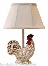 """TABLE LAMPS - """"STANDING PROUD"""" ROOSTER ACCENT LAMP - WHITE ROOSTER LAMP"""