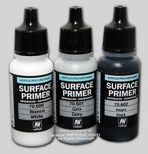 WHITE, GREY & BLACK SURFACE PRIMERS - Vallejo Model Acrylic 17ml 3-Bottle Combo
