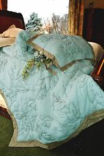 Soft Surroundings Heirloom Floral Quilt Queen Spa Color