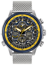 BRAND NEW CITIZEN ECO-DRIVE NAVIHAWK AT BLUE ANGEL SS MESH BRACELET JY8031-56L
