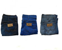 MENS STRETCH STRAIGHT FIT ZIP FLY SOFT DENIM WRANGLER JEANS 5 POCKETS