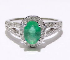 White Gold Oval Halo Antique Vintage Style REAL Emerald Diamonds Engagement Ring