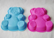 NEW 2 CHILDRENS SILICONE CAKE BAKING TIN JELLY MOULD TEDDY BEAR PINK & BLUE PMS