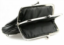 Black Lady Leather Dual Compartments Frame coin purse holder Large 2 zip Nice