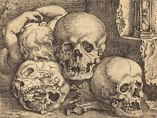 BARTHEL BEHAM GERMAN CHILD THREE SKULLS OLD ART PAINTING POSTER BB4918A
