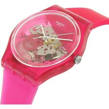 GRANA-TECH! Unique PINK Skeleton Swatch with SEE THRU Dial w SILICONE Band-NIB!