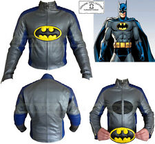 BATMAN STYLE CE ARMOUR MENS REMOVABLE LOGO MOTORBIKE / MOTORCYCLE LEATHER JACKET