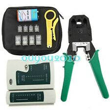 RJ45 Cat5e Cat6 Network Cable Wire Tester & Crimper Stripper Tools+ Connecter