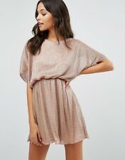-% BOOHOO Plisse Rose Metallic Batwing Mini Dress MUST HAVE UK 16