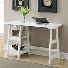 White Computer Desk Small Space Apartment Writing Office Teen Wood Kid Dorm Nice
