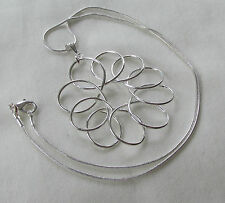 Handmade Unusual Silver Plated Wire Wrapped Flower Pendant Chain Necklace - Gift