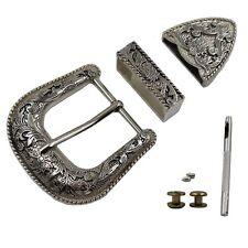 "1-1/2"" 38mm Western Cowboy  Belt Buckles Antique Silver Engraved Belt Buckle Set"