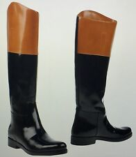 WOMEN NEW MICHAEL KORS BLACK & TAN LEATHER RIDING BOOTS SIZE 9.5