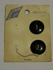 2 16mm Black Fisheye 2 Hole Vintage Buttons 1960-1980s On Card