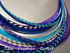 Lot 20 Grizzly Feathers Hair Extensions saddle Natural Blue Purple COOLS WHITE