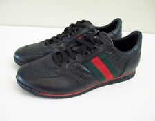 GUCCI SL 73 Sneakers GG Monogram Black Leather Womens Size 9.5, 39.5 NEW