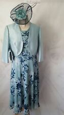 Jacques Vert Dress Jacket Bag fascinator Size 16/18 Blue floral matching outfit