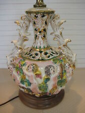 Vintage Hand Painted & Crafted Art Pottery Majolica Angels Vase Table Lamp