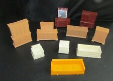 Vintage lot plastic dollhouse furniture bathroom living room bedroom tan brown +