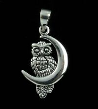 Hedwig Owl Crescent Moon 925 Sterling Silver Charm Pendant