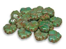 11x13mm Antiqued Green Foliage Picasso Maple Leaf Beads (10) #1521
