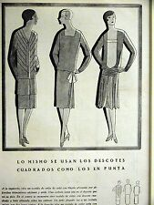 Femenil Art Deco BLOUSEY FLAPPER DRESSES 1927 Spanish Fashion Ad Matted