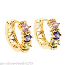 GB 1Pair 18k Gold Plated Stud Earrings with Muliticolor Zircon 22x19mm K84995