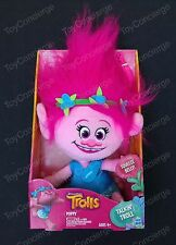 "HASBRO DREAMWORKS TROLLS Talking Troll Plush POPPY Doll 14"" Inch NEW"