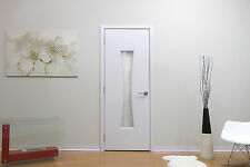 "36"" X 80"" Modern Interior Wood Door With Frame Frosted Glass No Pre Hung White"