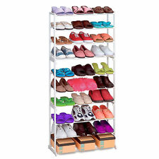 30 Pairs Shoes Storage Rack Stand Hold Closet Organizer Tower 10 Tier UK Stock