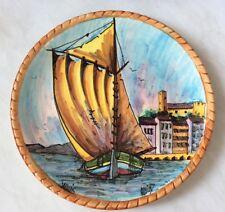 Assiette En Faience Vallauris Signée (Thème De La Mer Voilier Bateau)