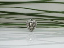 Vintage Sterling Silver Peacock Puffy Heart Bracelet Charm 1940's