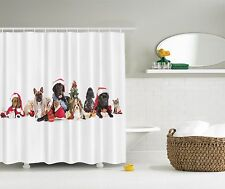 Santa's Christmas Holiday Dogs Cats Pets Tree Fabric Shower Curtain