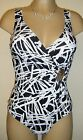 NEW RESORT MAGIC TUMMY CONTROL SWIMSUIT SIZE 10 BLACK/WHITE SOFT CUP COSTUME