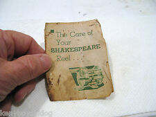 OLD Shakespeare - CARE of YOUR SHAKESPEARE Foldout original - OLD USED COLLECTOR