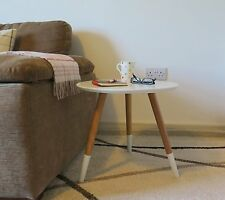 Retro Wooden Side Table End Lamp Coffee Round Table Style White Top Natural Legs