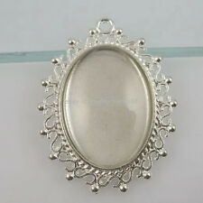 11731 5Set Silver Oval Frame Holder Base Setting + 25*18mm Glass Cameo Pendant