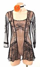 Vintage Style Black Lace Top Nataya Fancy sheer see through S Blouse